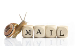 Snail Mail. A little snail is climbing on the blocks mail for Letter M Royalty Free Stock Image