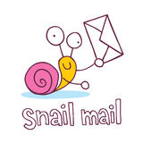 Snail mail cartoon character Royalty Free Stock Images