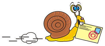 Snail and  mail Stock Photos
