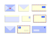 Snail mail letters envelopes flat style set, vector illustration Stock Images
