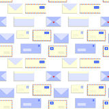 Snail mail letters envelopes seamless pattern, vector Stock Images