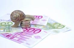 Snail on moneys Stock Photo