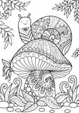 Snail on mushroom. Cute snail sitting on beautiful mushroom for adult coloring book page Stock Photos