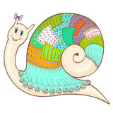 Snail patchwork 2 color2. Vector sketch cartoon cute snail in clothes patchwork, hand-drawn colorful Royalty Free Stock Photography