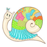 Snail patchwork cute color1. Vector sketch cartoon cute snail in clothes patchwork, hand-drawn colorfull Stock Image