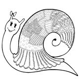 Snail patchwork cute 2. Vector sketch cartoon cute snail in clothes patchwork, hand-drawn of black lines on white background Stock Image