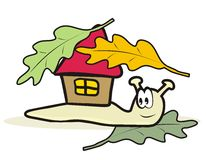 Snail. And playhouse. Humorous illustration Royalty Free Stock Image