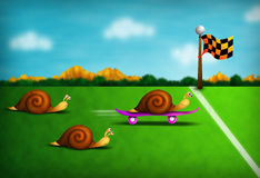 Snail race. Funny colorful illustration with racing snails including one outrageous cheat Royalty Free Stock Photo
