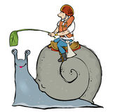 Snail race. Man sitting on snail racing with leaf as incentive Stock Photo