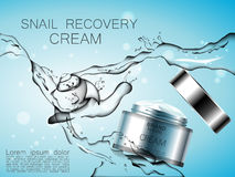 Snail recovery cream with snail essence on abstract background and snail stylized applause and streams of water. Royalty Free Stock Photography