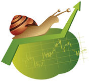 Snail is on a rising chart Royalty Free Stock Photography