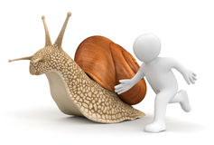 Snail and running man (clipping path included) Stock Images