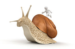 Snail and running man (clipping path included) Stock Photography