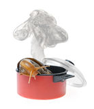 Snail in saucepan Royalty Free Stock Images