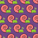 Snail shell with pink on purple background seamless texture. Cut Stock Photos
