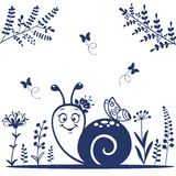 Snail silhouette. Silhouette cute and funny cartoon snail Stock Images