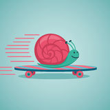 Snail on a skateboard. Fast snail. Snail on a skateboard. Cartoon illustration Stock Photography