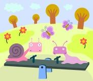 Snail, slug, seesaw vector illustration