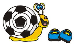 Snail with soccer ball looking at soccer shoes Royalty Free Stock Images