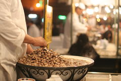 Snail soup in Djemaa el Fna. Traditional food stalls in Djemnaa el Fna square, Morocco, Marrakesh royalty free stock images