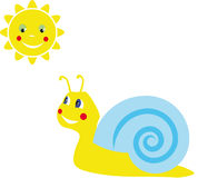 Snail and sun. Childs drawing. Snail smiling sun Royalty Free Stock Photos