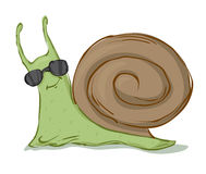 Snail in sunglasses Stock Images