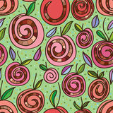 Snail sweet roll cake apple seamless pattern Royalty Free Stock Photo