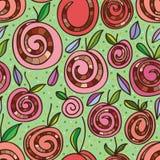 Snail sweet roll cake apple seamless pattern royalty free illustration