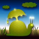 Snail with Umbrella. Comic Snail With Umbrella Decorative Illustration Stock Photos