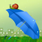 Snail on umbrella Royalty Free Stock Photos