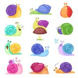 Snail vector snail-shaped character with shell and cartoon snailfish or snail-like mollusk kids illustration set of royalty free illustration
