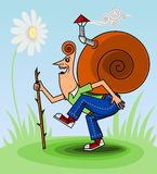 Snail for a walk Royalty Free Stock Photo
