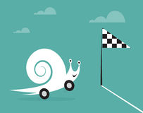 Snail on wheels like a car. Concept of speed Stock Photo
