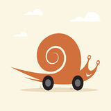 Snail on wheels Royalty Free Stock Images