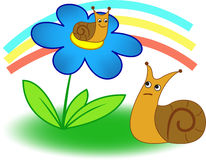 Snails. A little snail sitting on a flower, a large snail looks at it from the ground Stock Images