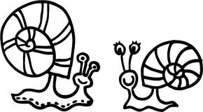 Snails. Two isolated different snails. vector image Stock Images
