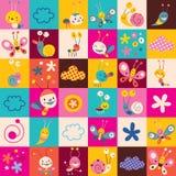 Snails, butterflies, bugs, flowers kids pattern Stock Image