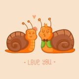 Snails - cartoon characters Royalty Free Stock Photo