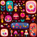 Snails, flowers, mushrooms cute nature pattern Stock Photos