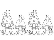 Snails and fly agarics. Snails sit on mushrooms and hide behind them. stock illustration