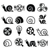 Snails, French snail meal - escargot icons set Royalty Free Stock Photography