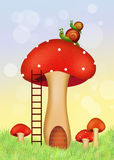 Snails on fungus home. Illustration of snails on fungus home Royalty Free Stock Photo
