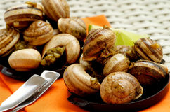 Snails with Garlic Butter. Delicious Escargot with Garlic Butter in Black Bowls with Lime and Snack Spoons on Orange Napkin closeup on Wicker background. Focus Royalty Free Stock Photo