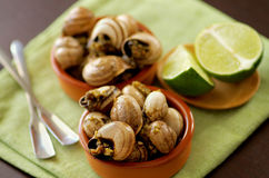 Snails with Garlic Butter. Delicious Escargot with Garlic Butter in Two Bowls with Silver Forks and Sliced Lime closeup on Green Napkin. Focus on Foreground Stock Photo