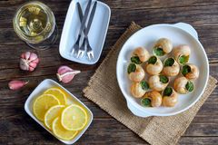 Snails with herbs butter garlic, top view Royalty Free Stock Photos