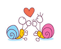 Snails In Love cartoon illustration Royalty Free Stock Photo