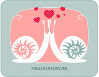 Snails in love. With hearts , together forever vector illustration
