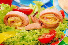 Snails made from sausage and cheese for child Royalty Free Stock Photography