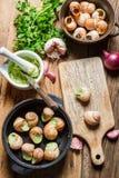 Snails med vitlök breder smör på, innan de lagar mat Royaltyfria Foton