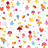 Snails mushrooms flowers hearts nature seamless pattern Stock Image